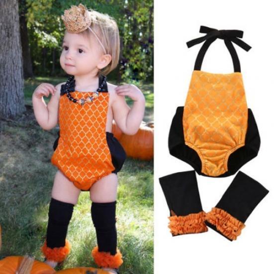 Хэллоуин тыква новорожденного девочка одежда Ромпер костюм комбинезон наряд + Носки поиск семена тыква марсельеза