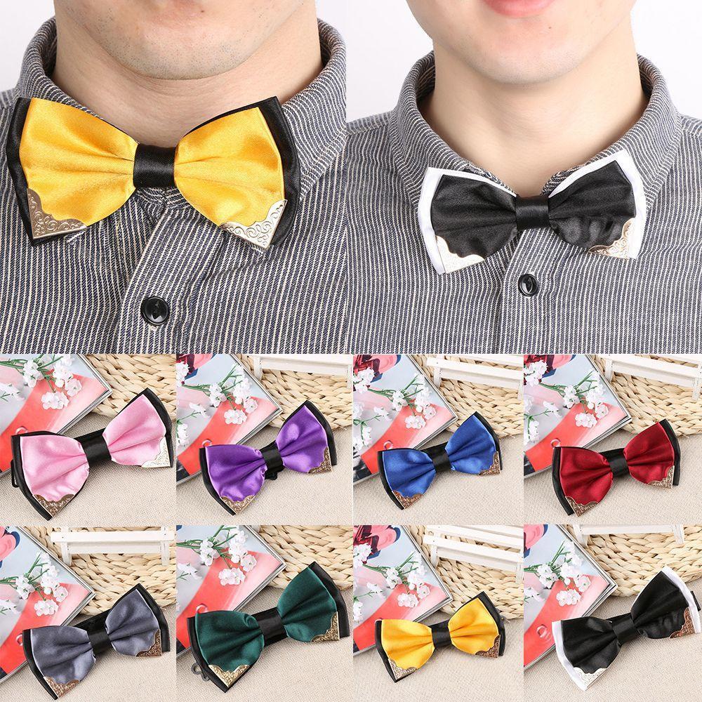 Свадебные Бабочка мальчиков аксессуары формальных мужчины простой галстуки шеи галстук Золотой уг... галстуки