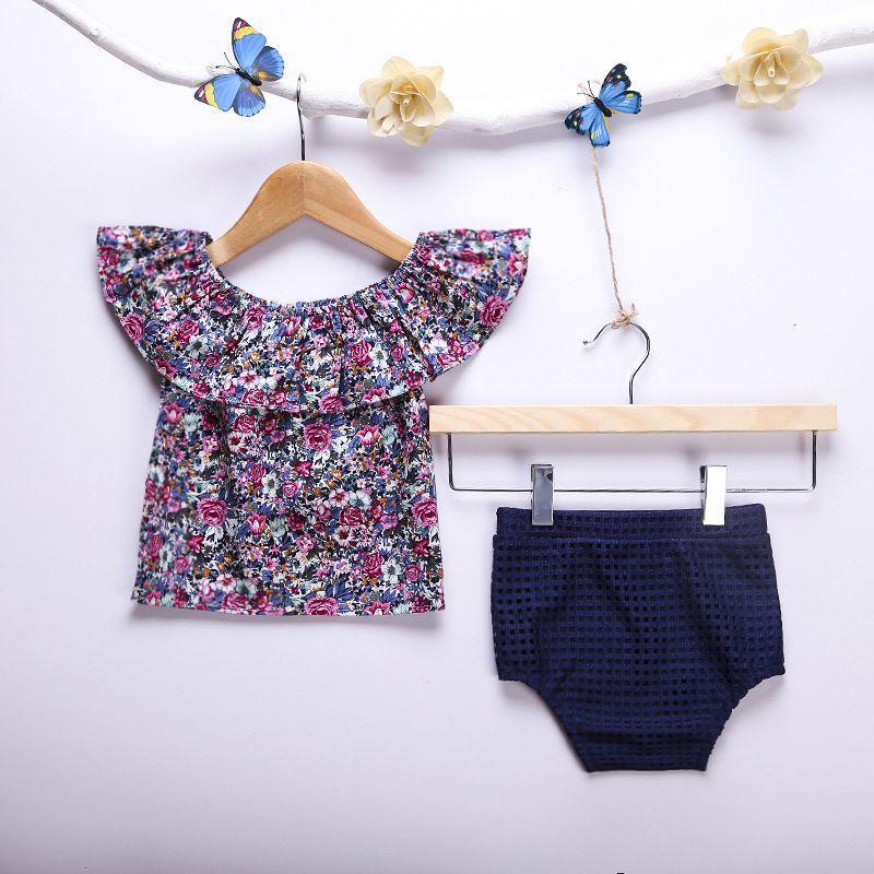 Детская одежда девушки одежда набор цветочный T-рубашка + трусы случайные детей одежда одежда