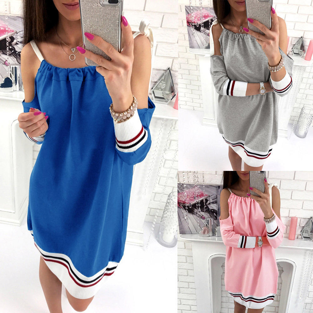 autumn casual long tee sundress comfortable straps off shoul