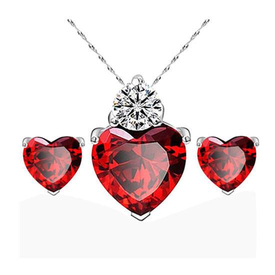 Женщины золото красное сердце кристалла комплекты ювелирных изделий серьги Колье свадебные