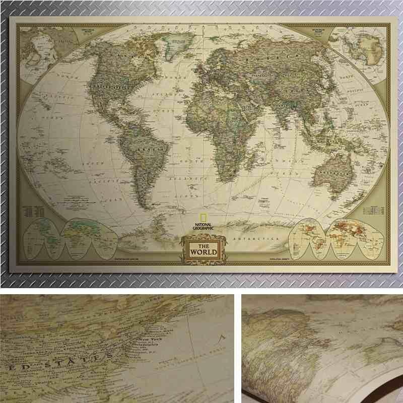 28 x 18» мира карта урожай ретро одной бумаги античный Плакат настенная диаграмма казань настенная карта
