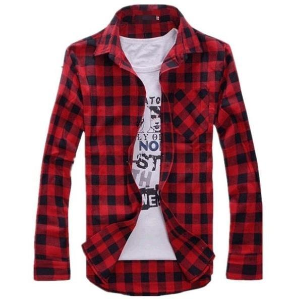 Плед Мужская Винтаж проверить длинный рукав рубашки тонкий нужным рубашки для мужчин футболка рубашки