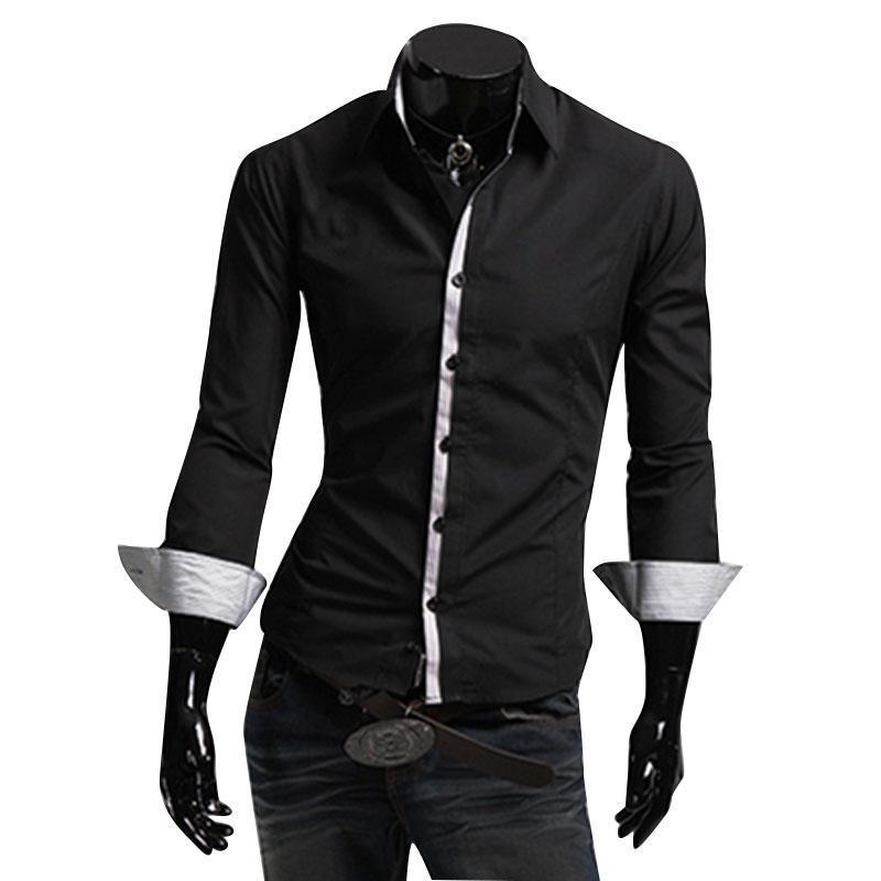 Мужская Одежда повседневная мужская рубашка вершины подходит рубашка однобортный длинные рукава р... мужская одежда