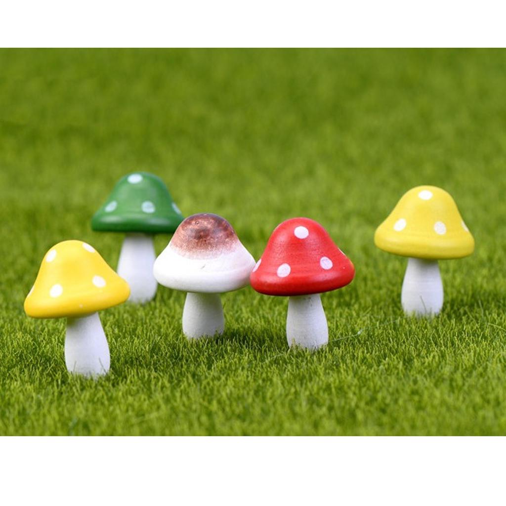 Красный гриб декор древесины пейзаж миниатюрный кукольный домик фея сад 10шт домик гриб