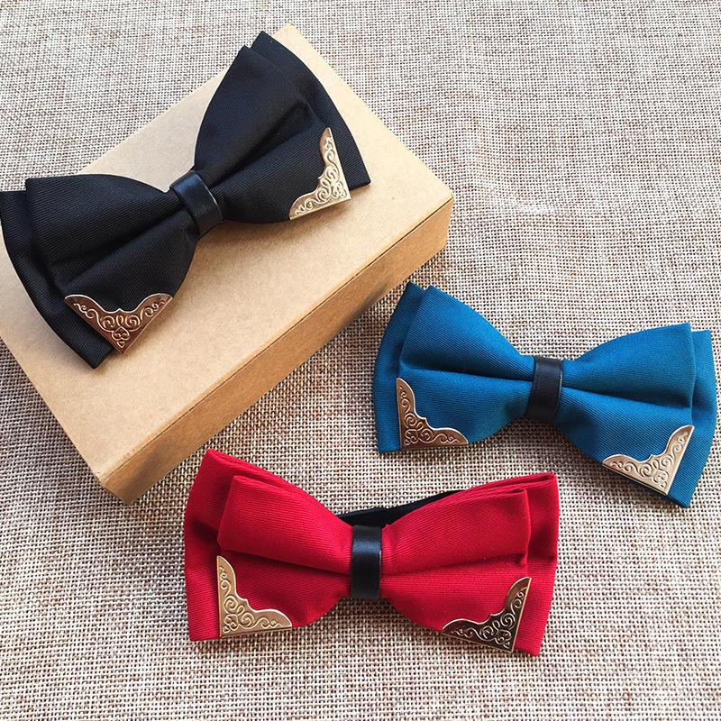 Моды металла начальник галстуки жених мужчин женщины бантом твердых Bowtie свадебных вечеринок галстуки