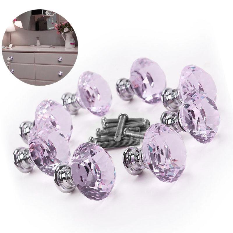 8pcs хрустального стекла алмаз мебель обрабатывает ящик шкаф кухонные шкафы шкафы тянуть нобы Диа...