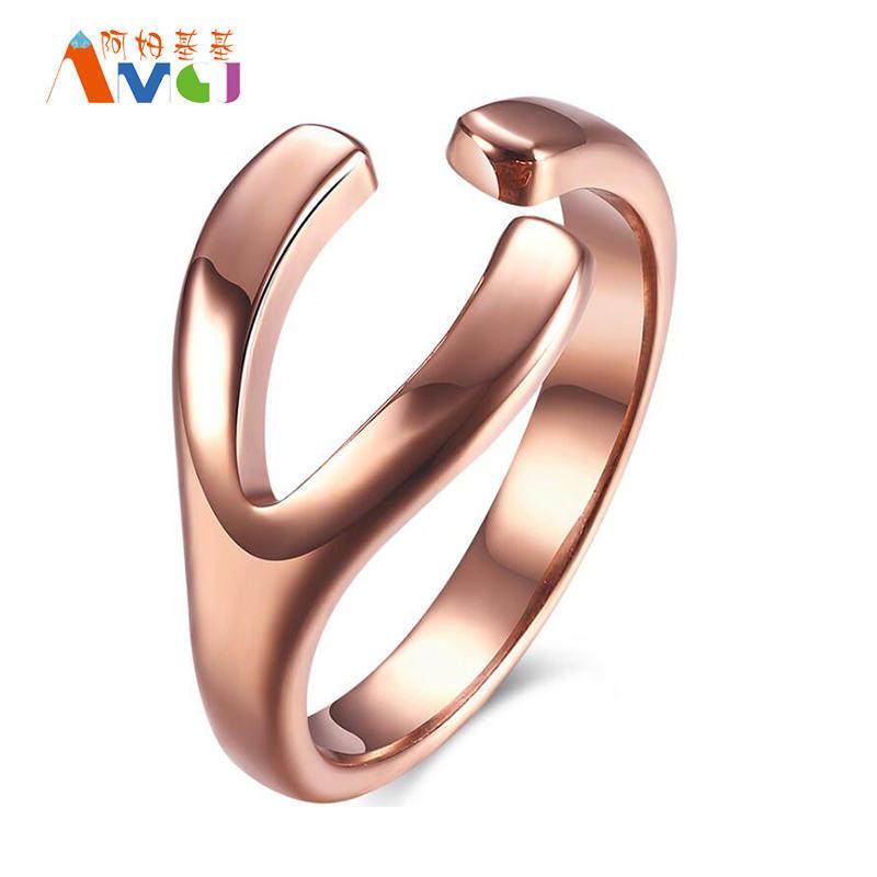 Новый стиль творческого Y-образный отверстия из нержавеющей стали кольца розового золота покрытие...