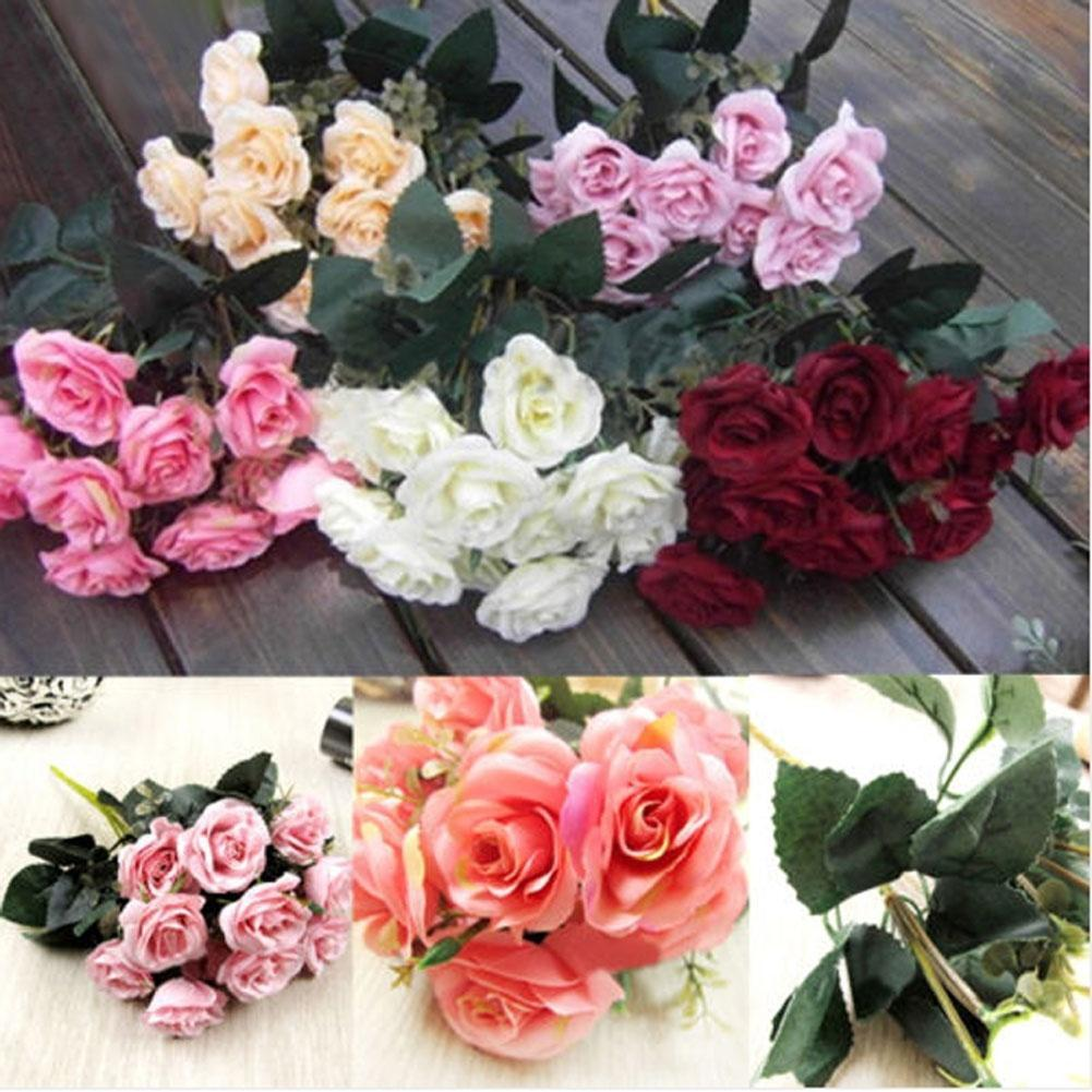 new 12head artificial fake roses silk flower bridal bou