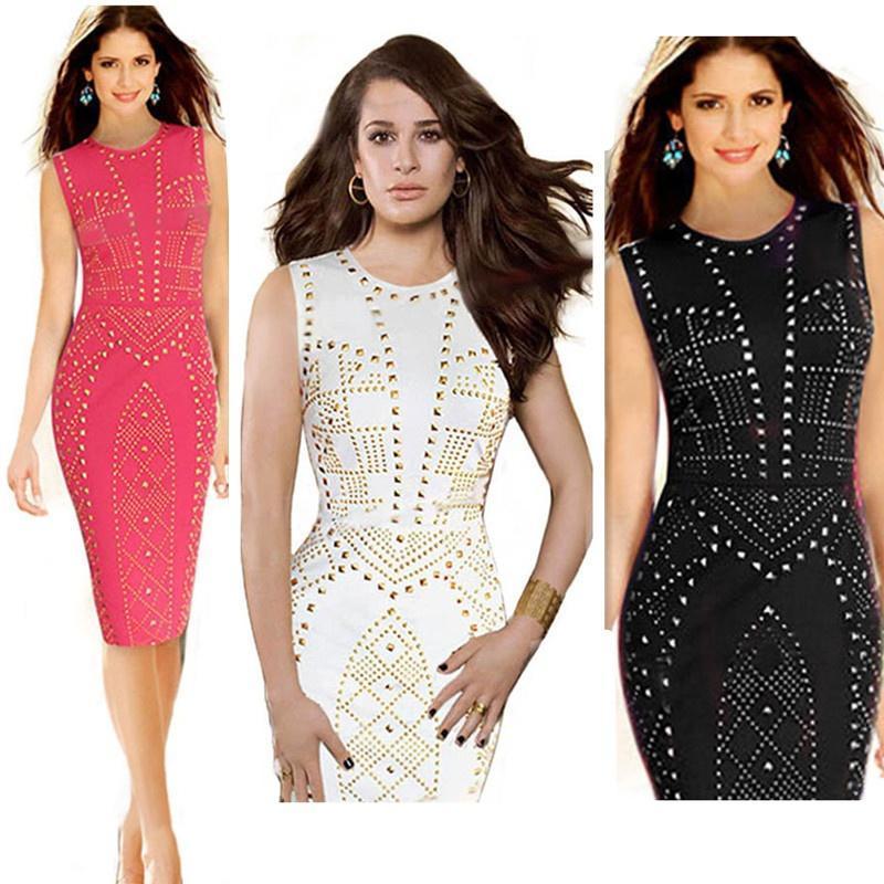 Женщины сексуальная Bodycon O-шеи без рукавов бизнес Clubwear вечер позолота карандаш платье