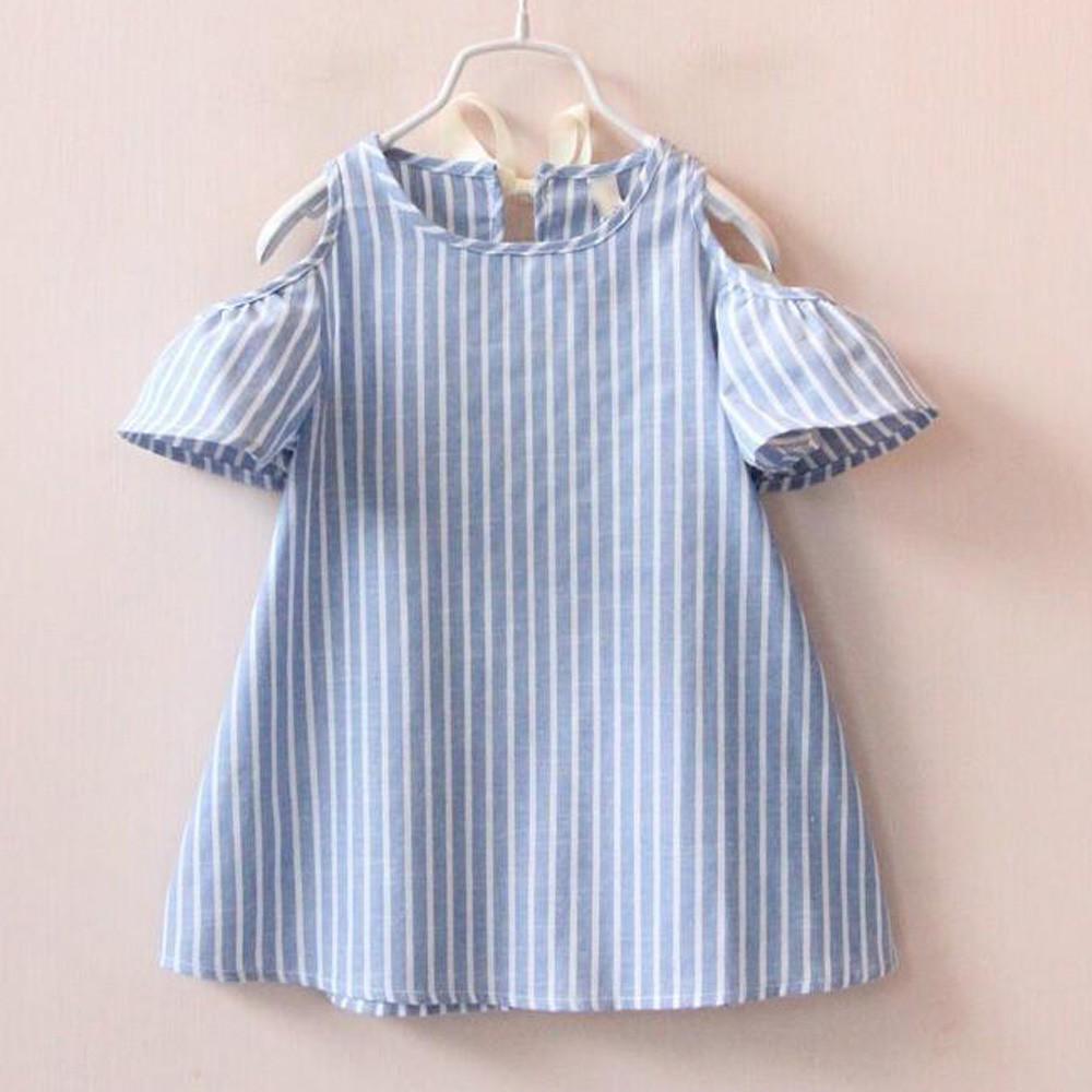 Младенца девочек принцесса платье короткий рукав полосатые платья платья для девочек