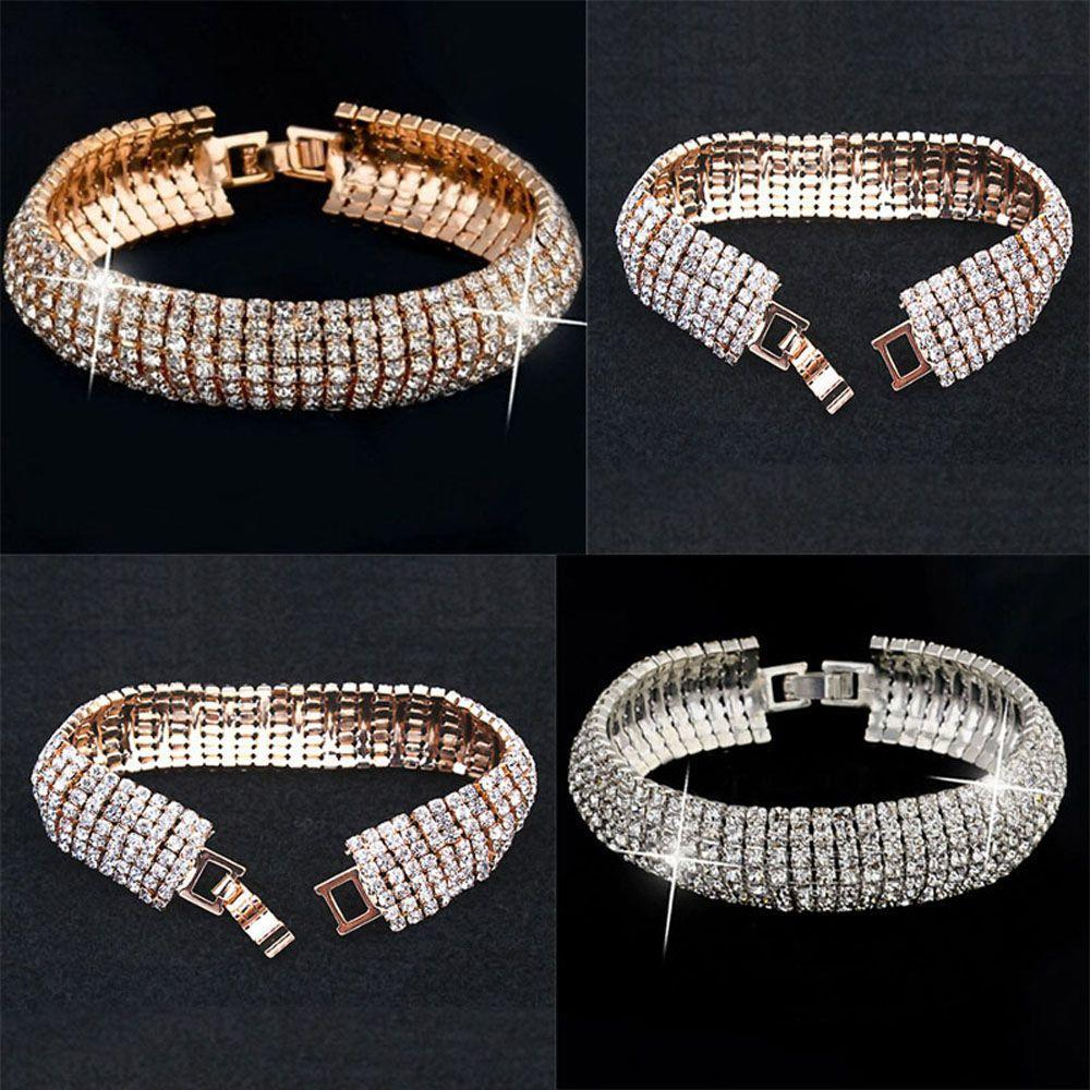 Золото серебро женщин кристалл свадебные браслеты браслет Винтаж