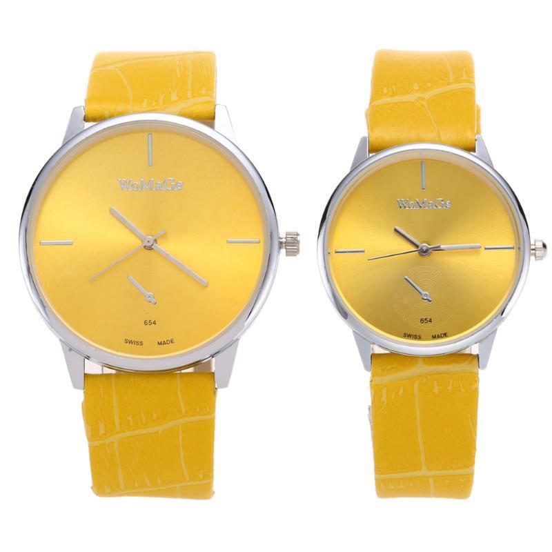 WOMAGE мода PU ремешок для часов старинных изысканные часы для студентов желтый L