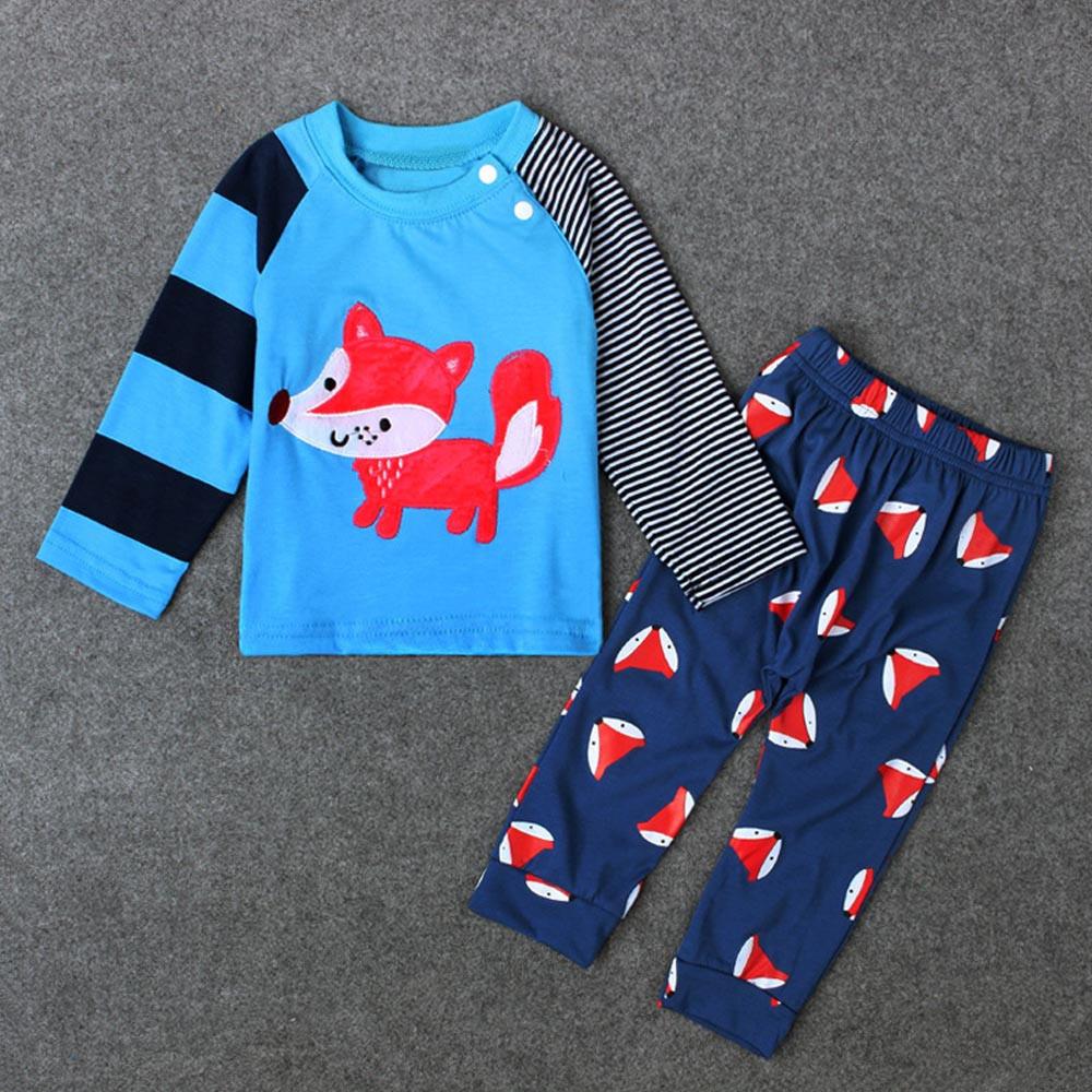 -Оптовая торговля-набор малыш дети мальчики печать T-рубашка + длинные брюки Хлопок одежда наряды
