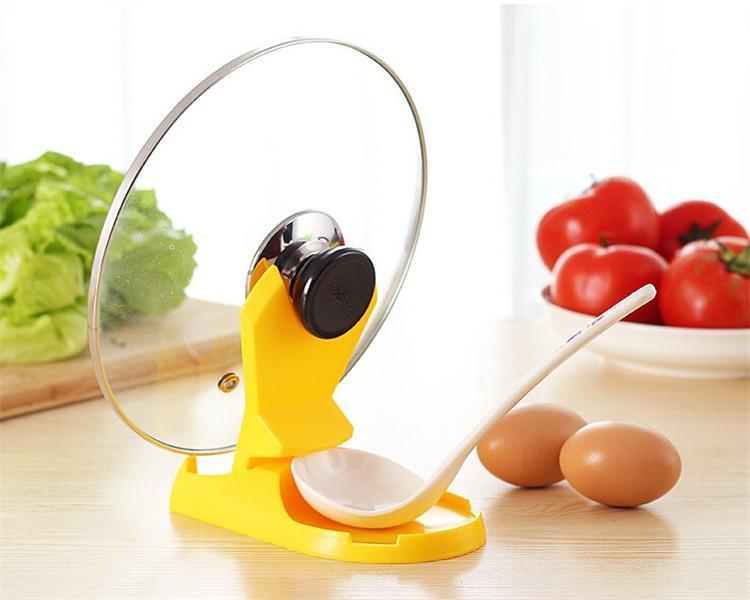 Складная сковороду крышкой кронштейн хранения стойки кухонная посуда случайный цвет посуда кухонная
