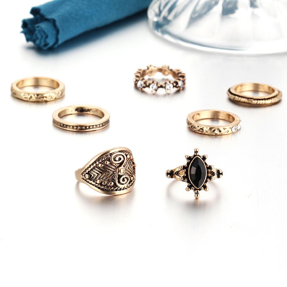 Серебряные кольца ретро стека кулака кольца набор 7Pcs
