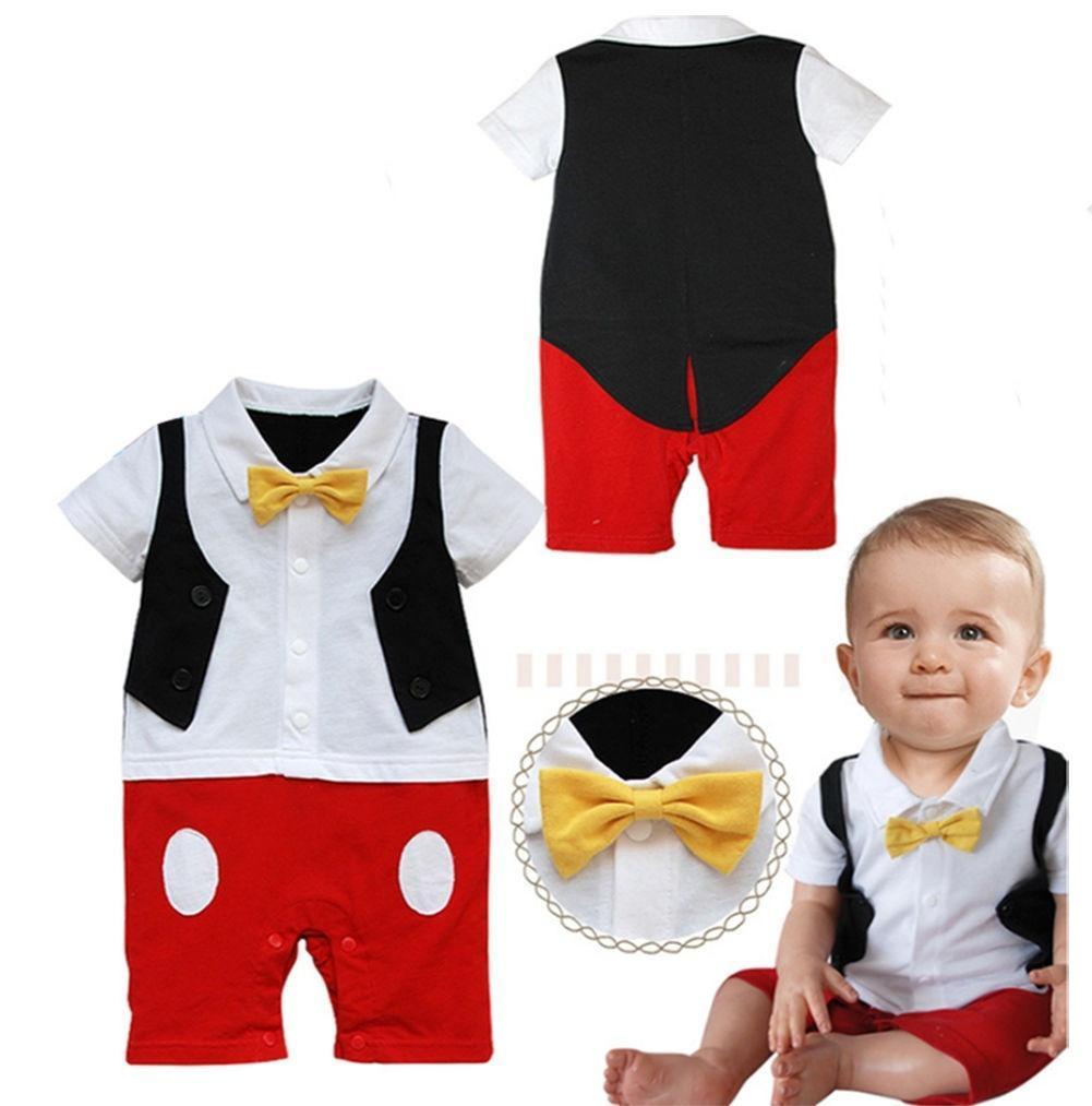 Baby Boy 3D галстуки Микки Маус фото реквизит Комбинезоны комбинезон Onesie костюмы набор галстуки