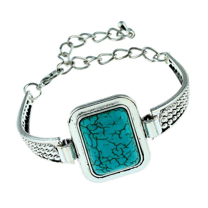 Женщин ретро VintageTurquoise Тибет Серебряная цепочка браслет браслет манжеты моды