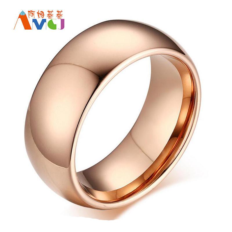 Известный бренд женщин кольца золото/розовое золото нержавеющей сталь гладкая кольцо пара кольца ...