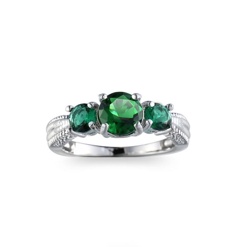 Серебряные позолоченные женщин кольца старинных зеленых циркона Кольца обручальные кольца подарки...
