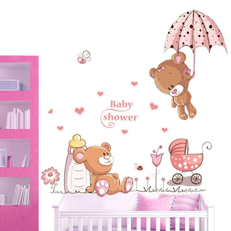 Мишка цветы наклейка таблички дети питомник младенца декор стен съемный декор для стен