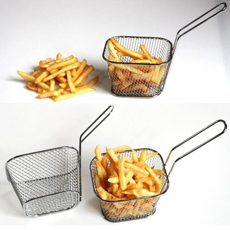 Новый магазин Скидка! жарки корзина питание микросхемы корзина из нержавеющей стали мини-картофель скидка