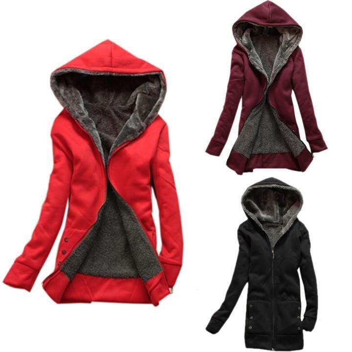 Каждодневный Женская мода дамы сгущаться теплую куртку верхняя одежда пальто толстовка