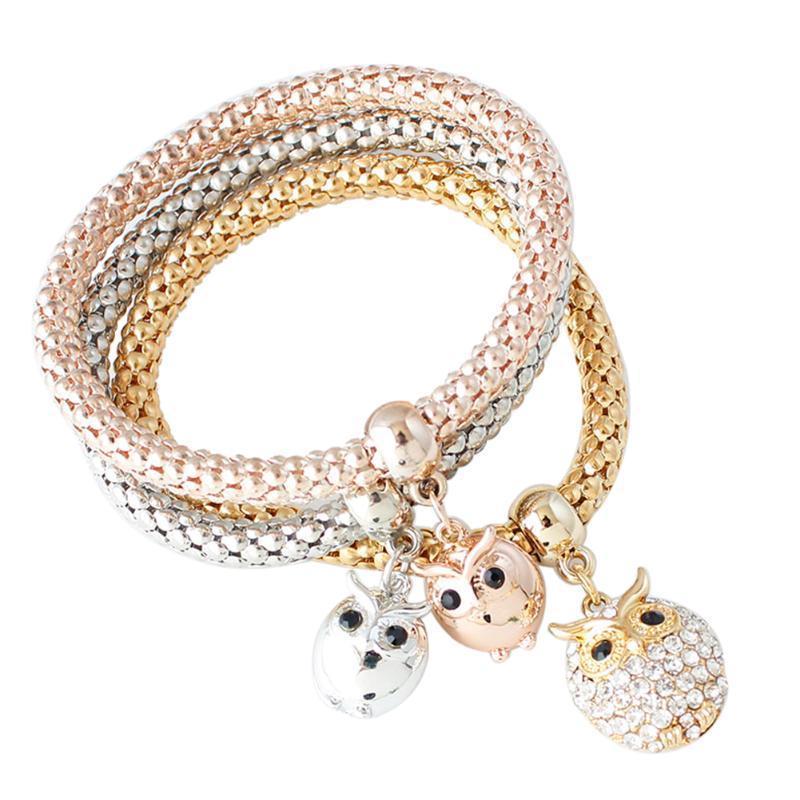 3pcs Браслеты Браслеты розовое золото Серебряные позолоченные хрустальные милая сова