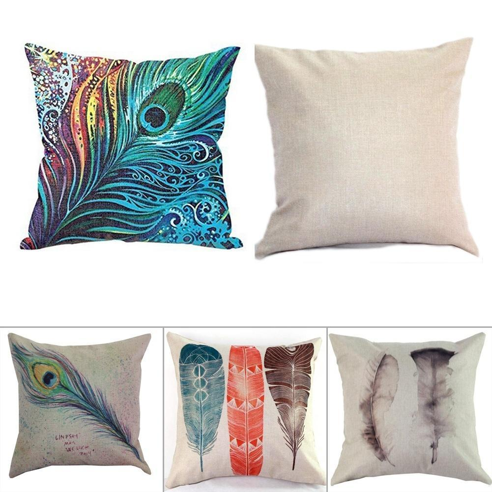 home living accessories feather pattern cotton linen colorfu