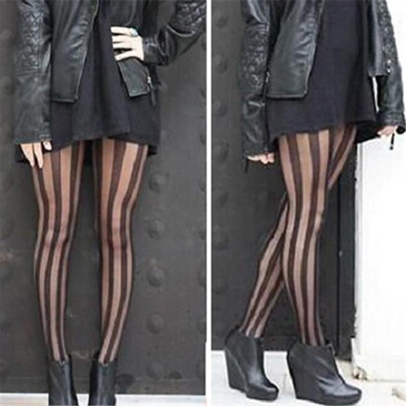 Женщины мода сексуальные черные полосы шаблон чулки колготки Леггинсы Колготки
