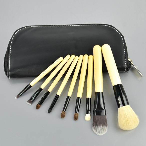 9 шт Set косметические кисти составляют набор инструментов + молния кожаный чехол набор инструментов квалитет нир 78