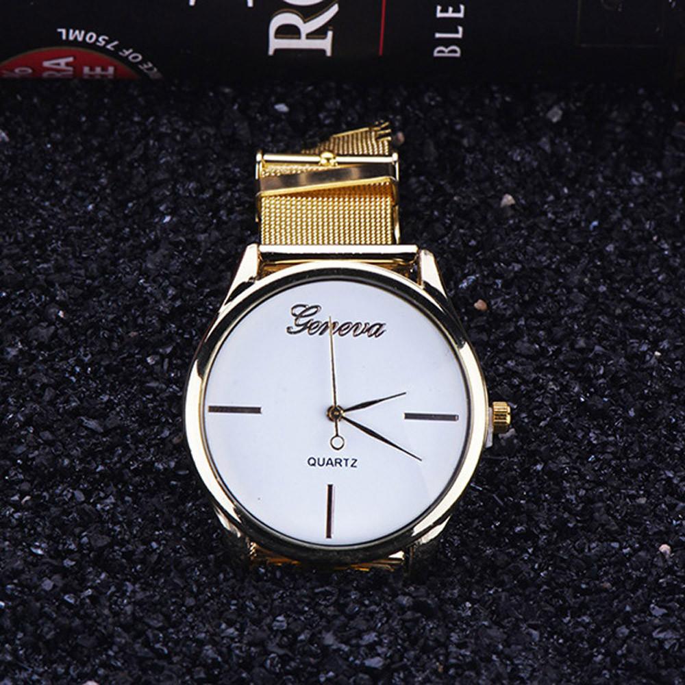 Женева золотые женские аналоговые кварцевые Нержавеющая сталь наручные часы Классические Worldmart