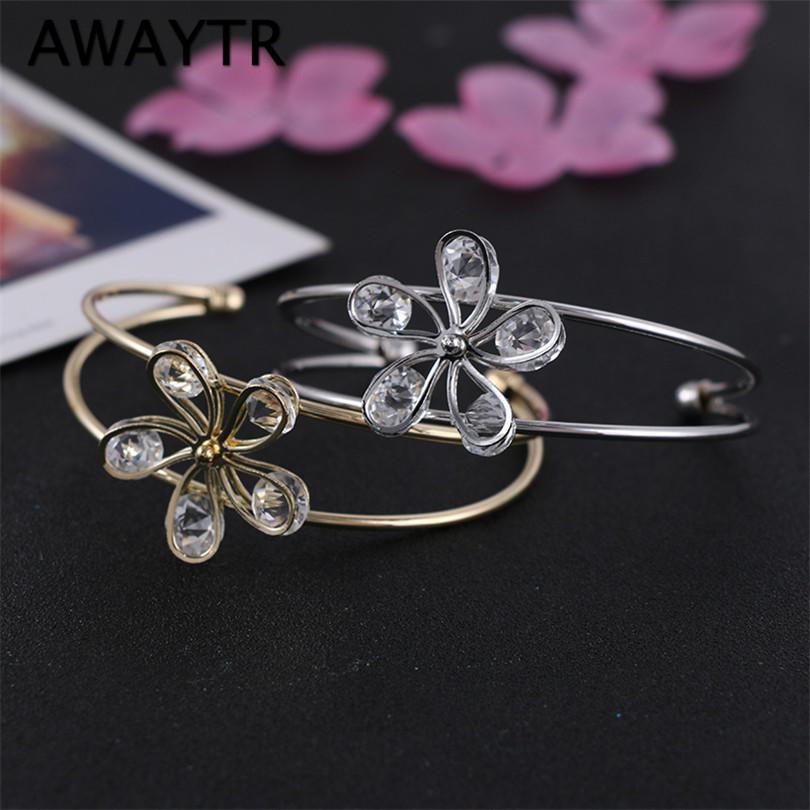 AWAYTR моды браслеты цветок кристалл браслеты для женщин золотые позолоченные украшения регулируе...