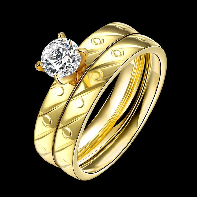 1Set титановые стали золотые брак обручальные кольца США размер 6-9