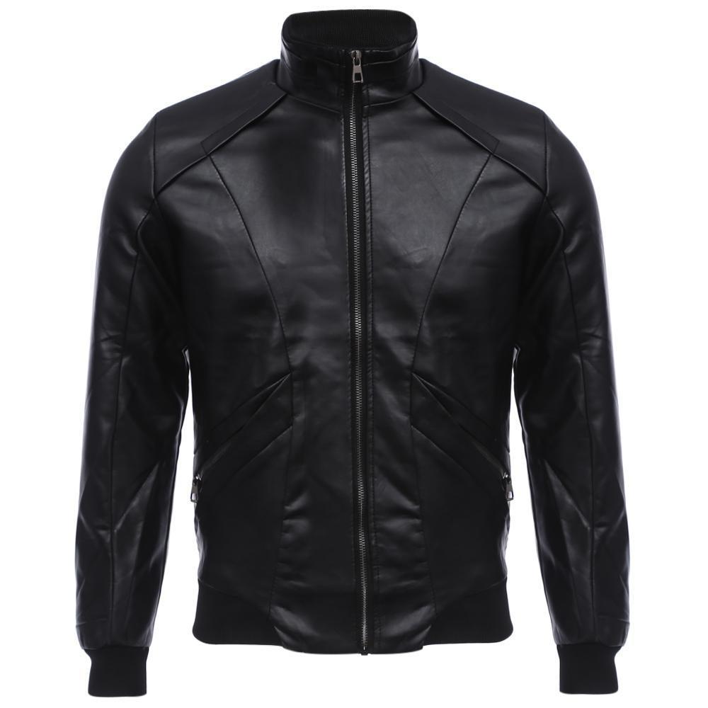 Стильный стенд воротник молния дизайн мужской теплой тонкий нужным кожаное пальто пальто мужское кожаное в москве