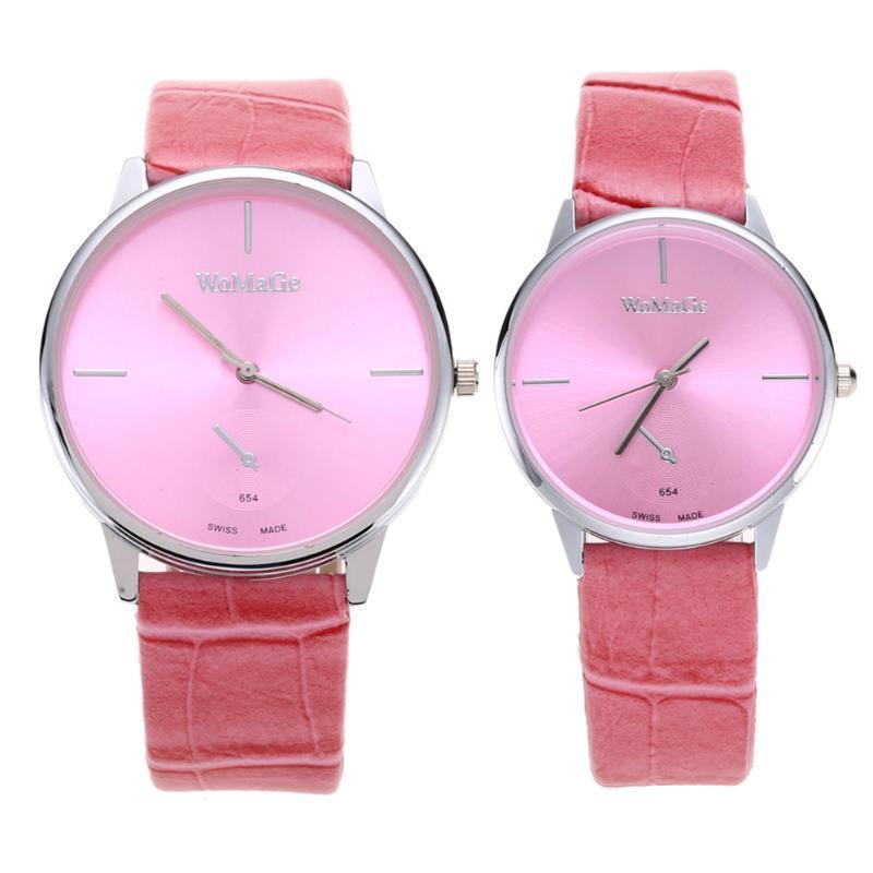 WOMAGE моды PU ремешок для часов старинных изысканные часы для малыша студента розовый S