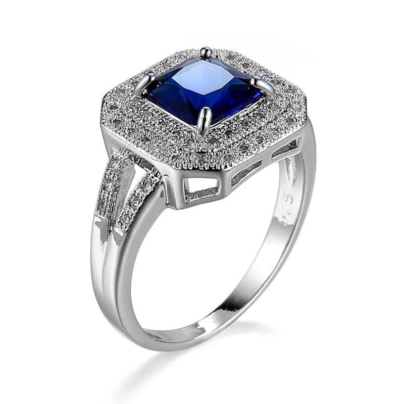 Женщины площади Изумрудный кольца из белого золота покрытием размер кольца 6-10