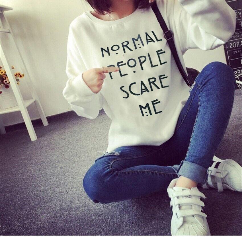 Женщины письмо печатных Crewneck Толстовки дамы случайные пуловер джемпер свитер Топ