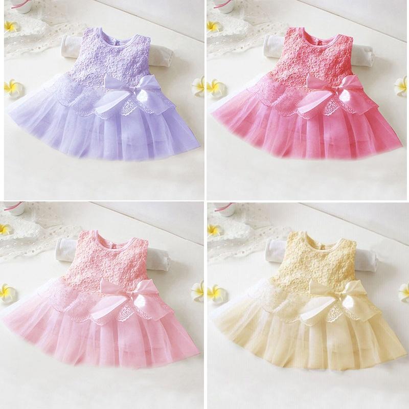 Платья цветком бантом пачка новорожденных девочек малыш партия принцессы Кружева конкурс вязаные платья для новорожденных девочек