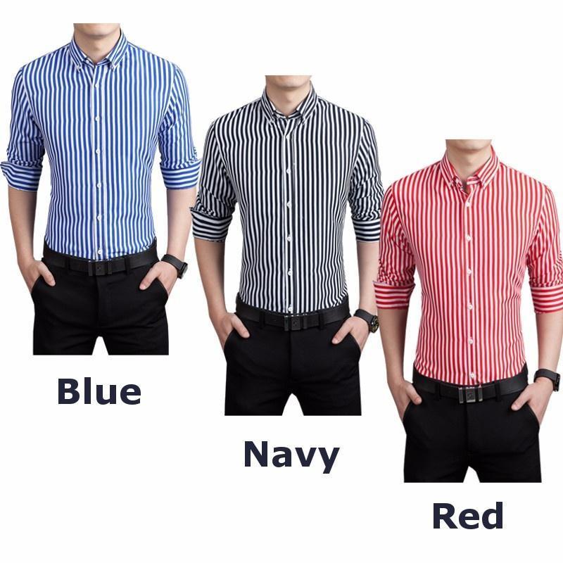 Slim Fit бизнес мужчины с длинным рукавом полосатой тканые рубашки платья рубашки рубашки застегн... рубашки