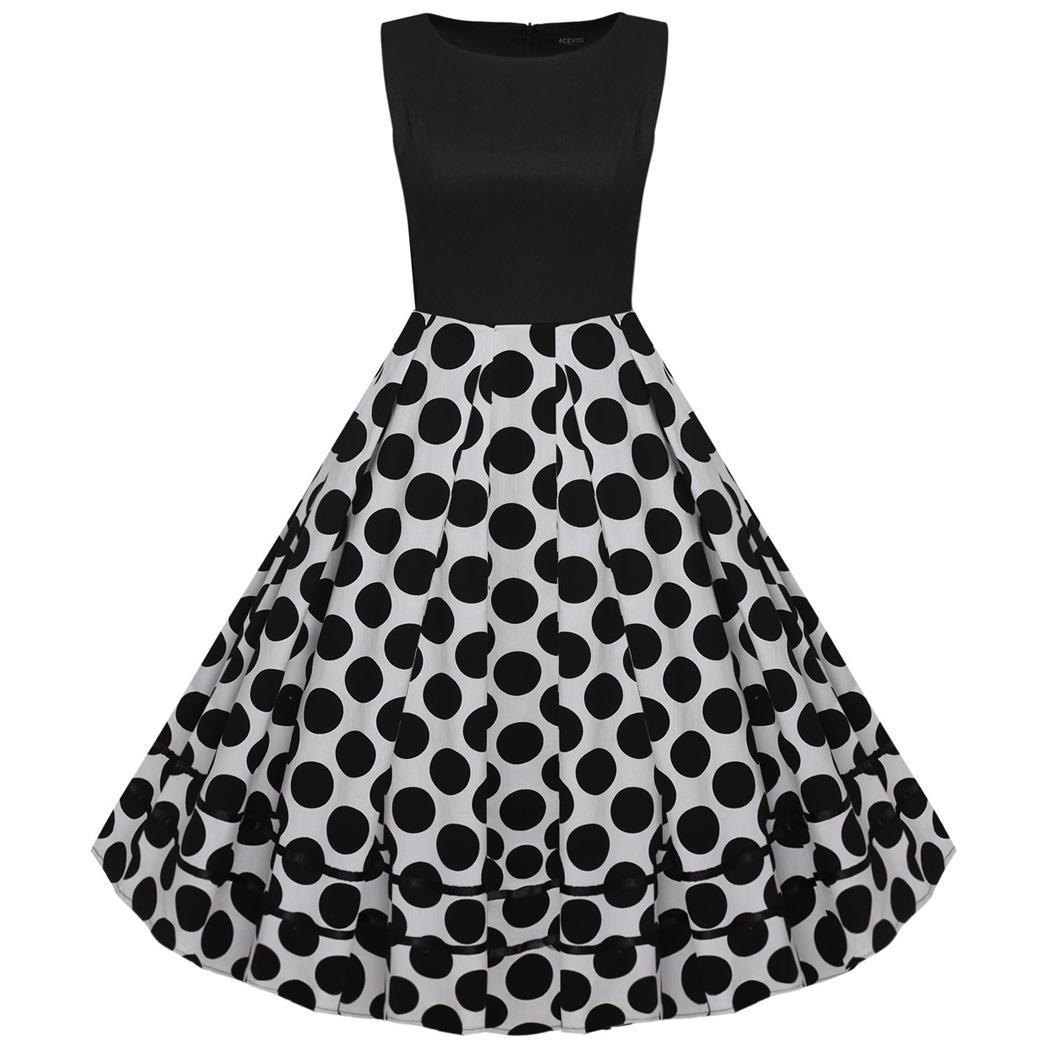 ACEVOG женщин 1950-х годов ретро Винтаж Стиль рукавов Dot партии Midi платье качели