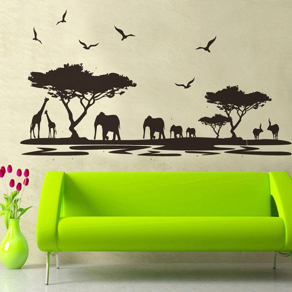 african safari themed wall sticker jungle animal tree mural