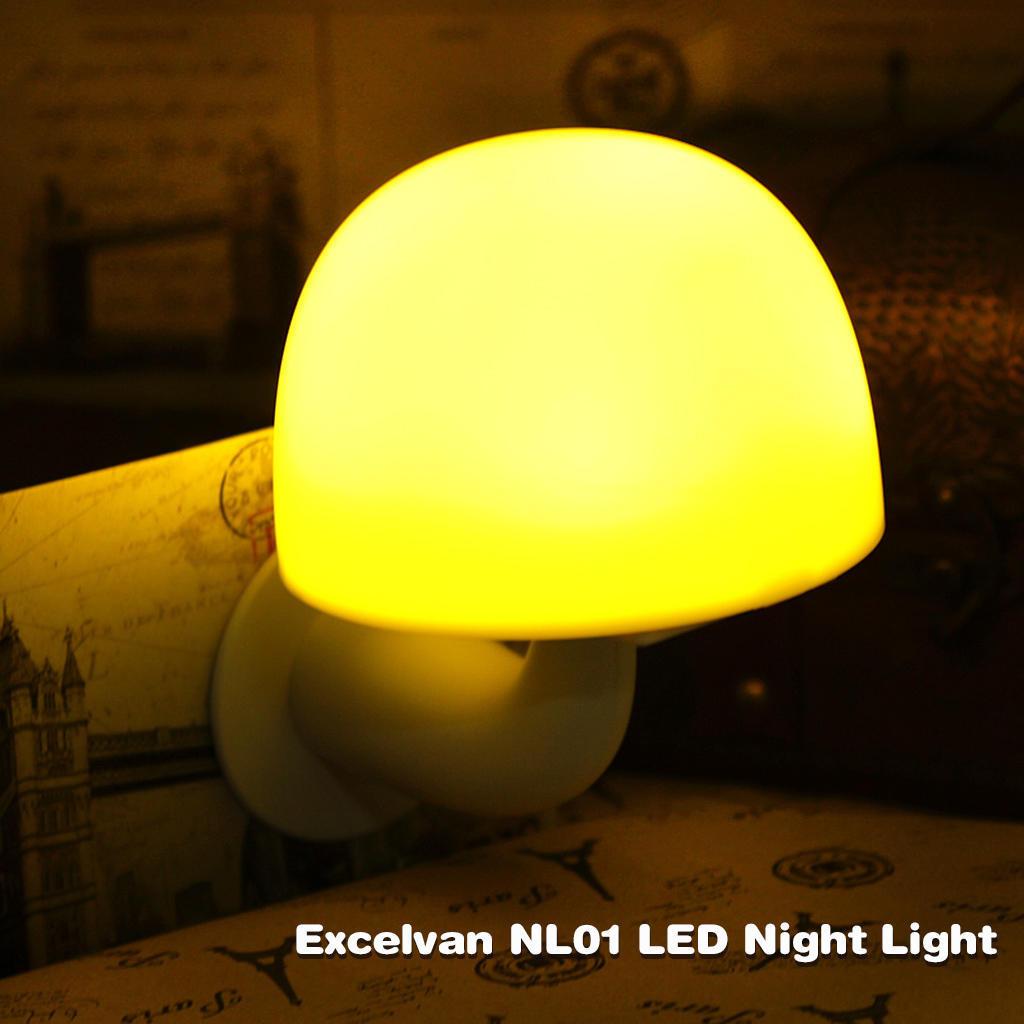 Excelvan® NL01 Smart гриб стиль Светодиодные ночник, с умный свет и звук датчик, 3modes, теплый ж... ночник светодиодный camelion nl 132 пальмы