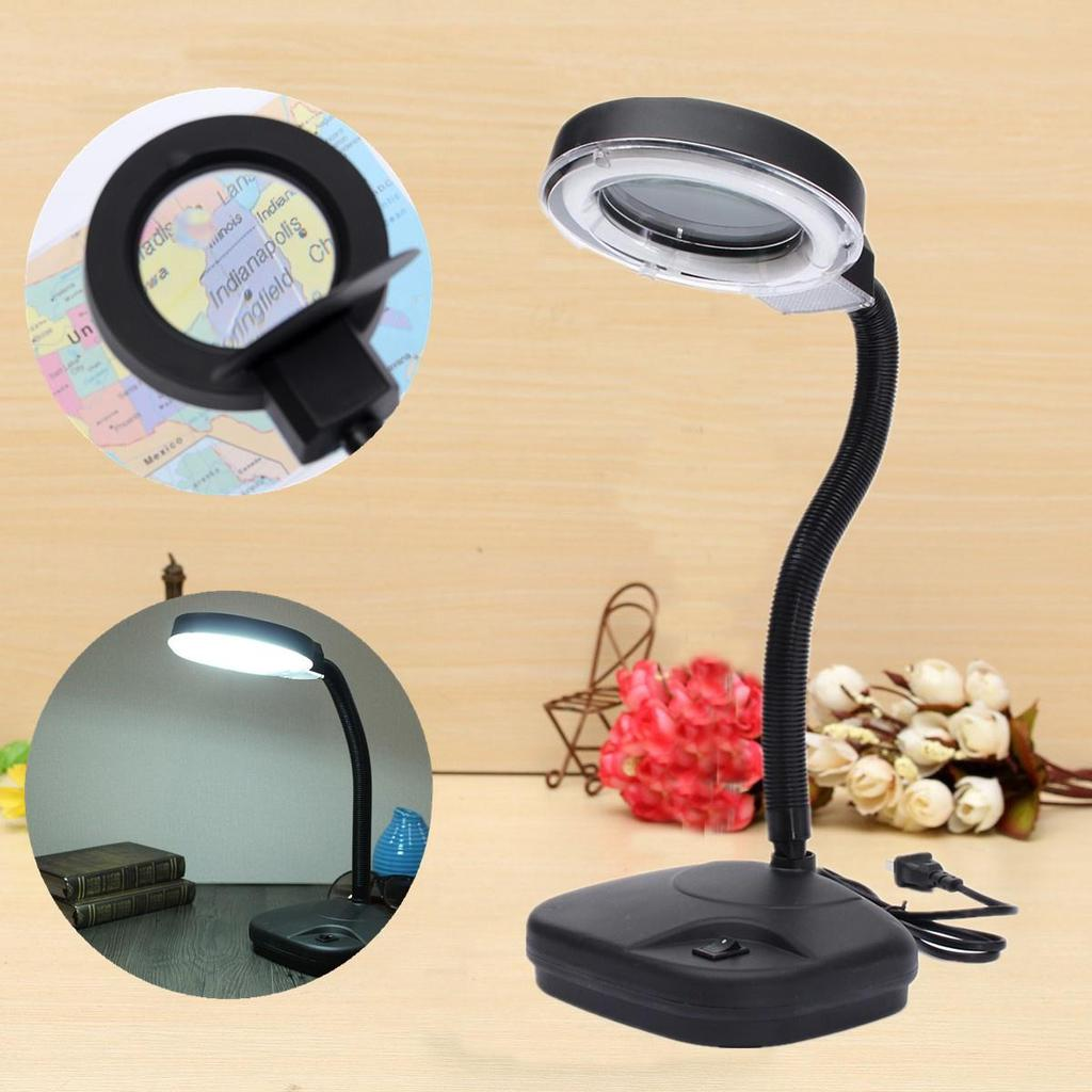 Flexible Reading Table Desk Study Light Lamp With Magnifying