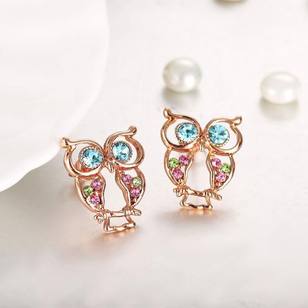 Мода сова Серьги ювелирных изделий розовое золото