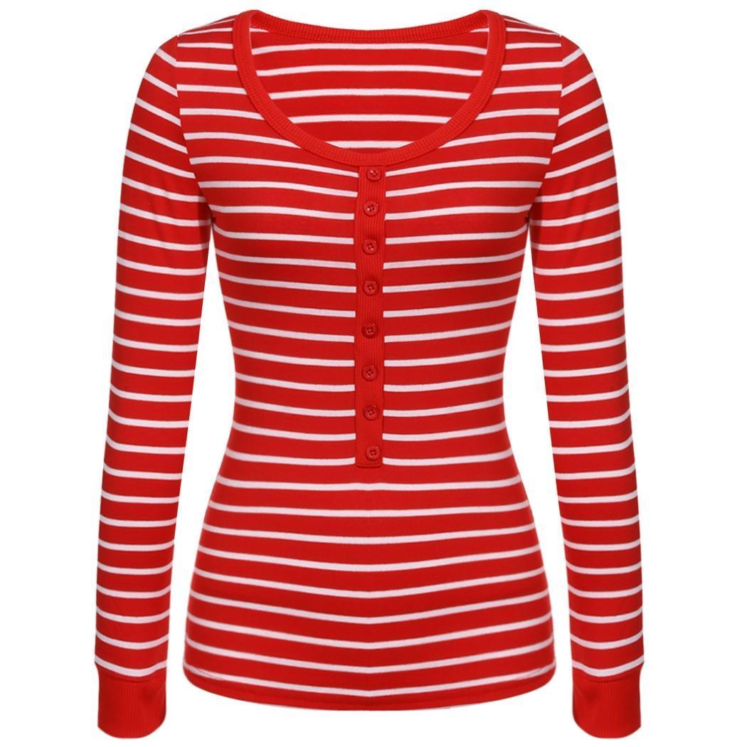 Стильных женщин девочек O шею длинный рукав блузки топ полосатые футболки