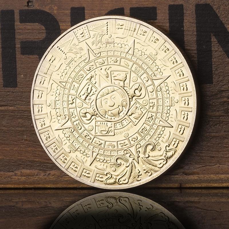 1 шт Золотая медаль Мексики майя календарь Non номинальная стоимость памятные монеты для коллекци... нумизматика киев продать монеты советские метал рубли монеты стоимость