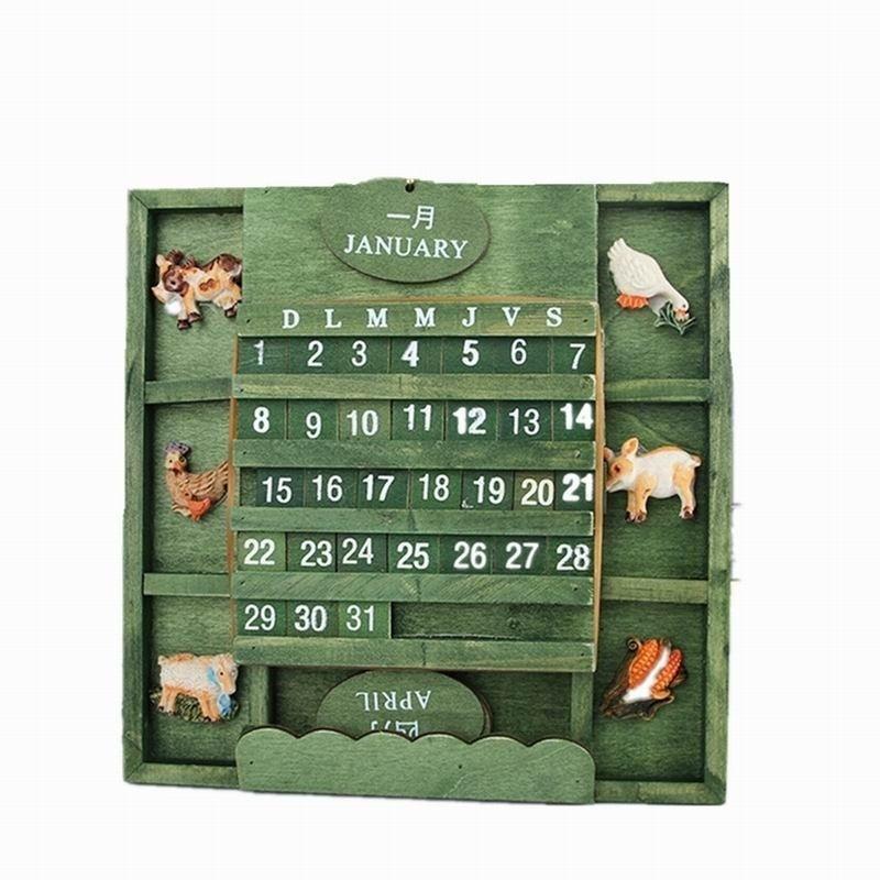 Творческий ретро стиль бука деревянные DIY ручной деревянный календарь стол письменный небольшой ...