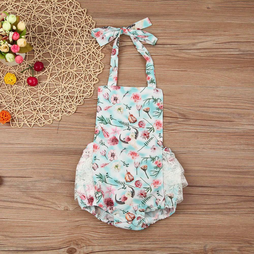 Новорожденный ребенок девочка цветочные кружева Холтер комбинезон комбинезон одежда костюмы костюмы костюмы