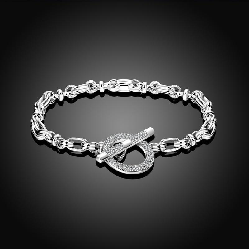 РОКСИ цепи браслеты женщин белого золота браслет покрытием круглый круг